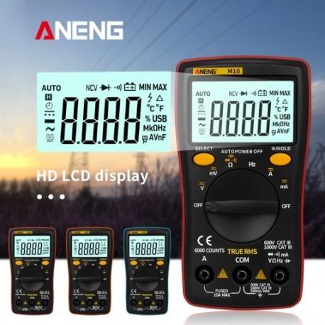 1x ANENG M10 LCD digitális multiméter 6000 szám háttérvilágítás AC / DC ohmmérő teszterrel