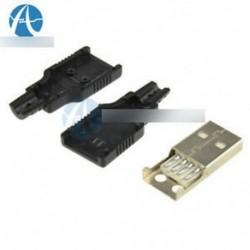 5db USB2.0 típusú A dugó 4-pólusú férfi adapter csatlakozó aljzat és fekete műanyag fedél
