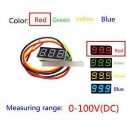 """0,28 """"piros LED DC 0-100V 3 vezetékes digitális feszültségmérő kijelző feszültség panel mérő"""