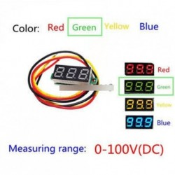 """0,28 """"3-vezetékes zöld LED DC 0-100V feszültségmérő digitális kijelző feszültség panel mérő"""
