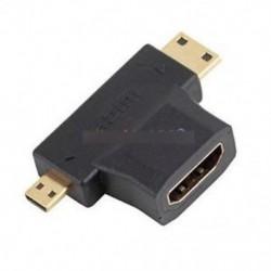 3 in 1 HDMI női Mini HDMI   Micro HDMIadapter-csatlakozó fekete