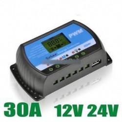 30A PWM napelemes vezérlő akkumulátor töltésszabályozó 12V / 24V automatikus USB-vel