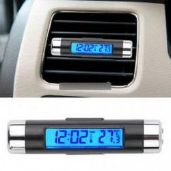 2in1 digitális LED autós óra hőmérő hőmérséklet LCD háttérvilágítás akkumulátor nélkül