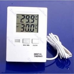 Digitális LCD beltéri és kültéri hőmérő hőmérsékletmérő fehér