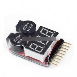 5PCS 1-8S Lipo Li-ion Fe akkumulátor feszültség 2IN1 Tester Alacsony feszültségű zümmögő riasztás Ne