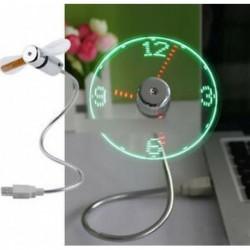 LED-es ventilátor Mini USB-órás ventilátor Hajtás Hűtés A valós idejű kijelző funkció villog