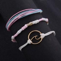 szett Bohém retro rózsaszínű, kézzel készített kötött tengeri hullám karkötő készlet Charm női ékszer divatos