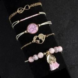 5db / szett Bohém rózsaszín Tophus Tassel szív karkötőészlet karkötő varázsa női ékszer divatos ajándéka