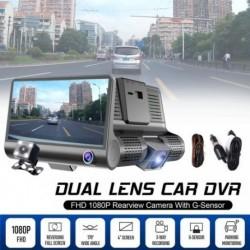 """1080P HD 4 """"es, kettős 3 kamera lencsével autós DVR visszapillantó videó dash kamera felvevő kamera Gérzékelő"""