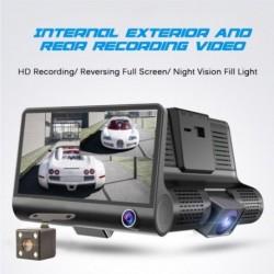 4 hüvelykes vezetékes rögzítő Három lencsével három felvétel előtt és után autó videó HD éjjellátó