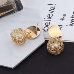 Női modern elegáns kötött gömb gömb fém fülbevaló divatos divatos luxus ékszerkiegészítők