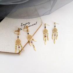 Divat Dreamnet kerek dizájn hosszú fülbevaló  női elegáns bohém kör fülbevaló
