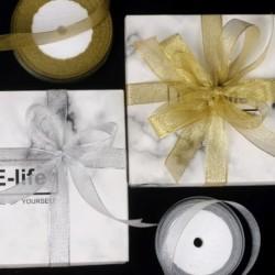 25Y 2 cm arany ezüst szalag csillogás metál taft karácsonyi esküvői dekoráció DIY ajándékcsomagolás csomagoló