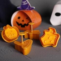 4 db / készlet tök süti bélyeg DIY Halloween keksz sütőforma 3D  gyerekeknek konyhai eszközökhöz