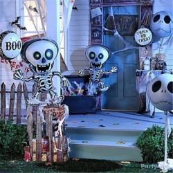 Halloween party nagy lufi táncoló csontvázak denevér tök fólia ballon party dekorációs kellékek
