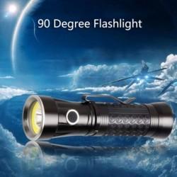 Tölthető T6 COB LEDes zseblámpa 90 fokos többfunkciós zseblámpa, munkavilágító mágneses ellenőrző lámpa