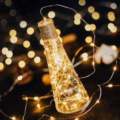 1M koszorú dekoratív könnyű réz huzal CR2032 akkumulátorral működtetett karácsonyi esküvői dekoráció LED szalag