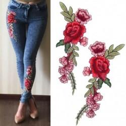 1 pár hosszú rózsával készült virágok hímzett vasból készült foltokkal varrott rátétekkel hímzett barkács ruhák