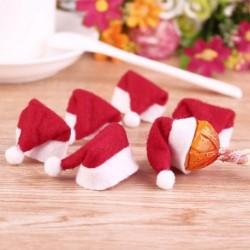 10DB karácsonyi mini nyalóka Mikulás sapka dekoráció