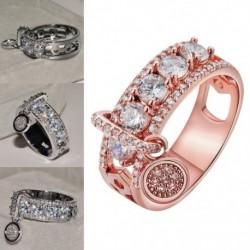Vintage rózsa arany luxus fehér cirkon eljegyzési gyűrűvel töltött jegygyűrűk női divatékszer