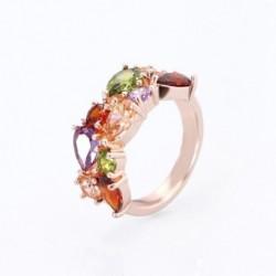 Legújabb divatos rózsa arany színű AAA köbös cirkóni jegygyűrű ékszer női ajándék party