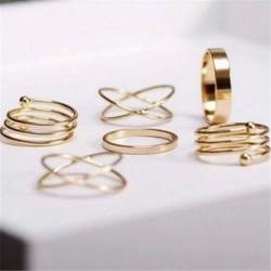6 db / készlet Korea stílusú,  ötvözet gyűrűvel Retro eltúlzott elegáns arany ezüst ízületi gyűrűvel