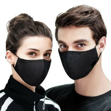 Kétrétegű Uniszex Női Férfi Vékony fekete mosható pamut arc száj maszk szájmaszk