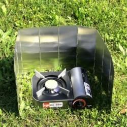 10 lemez hajtogatható kemping tűzhely gáztűzhely szélvédő hordozható kültéri főzés összecsukható képernyő