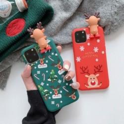 Boldog karácsonyt pároknak iPhone 11 tok, karikatúra hóember és szarvas puha hátsó tokokban