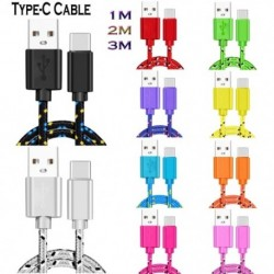 C típusú kábel 1m 2m  nylon fonott gyors töltő kábel USB töltő kábel a Huawei Xiaomi Samsung készülékhez
