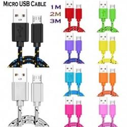 Mikro USB kábel 1m 2m  nylon fonott gyors töltő kábel USB töltő kábel a Huawei Xiaomi Samsung készülékhez