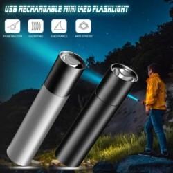 USB tölthető mini LED zseblámpa vízálló fáklya teleszkópos zoommal hordozható zseblámpa éjszakai világításhoz