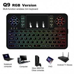 Q9s Bluetooth vezeték nélküli mini billentyűzet színes háttérvilágítással, érintőpadra Q9 Air Mouse távirányító
