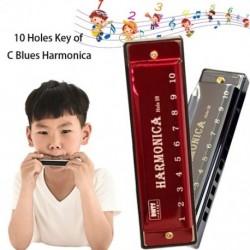 10 lyukas Harmonica C Key Blues Metal Harmonica hangszer oktatójáték tokkal gyerekeknek kezdőknek