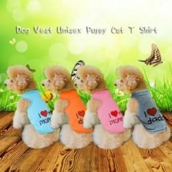 Klasszikus szerelem Anyu és Szerelem Apu nyomtatott kutya mellény Unisex kölyökkutya póló Ujjatlan ruházat Aranyos
