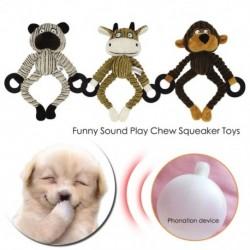 Plüss kisállat játékok háromszínű gumi gyűrűs prémes játékok majom tehén medve rágó játék