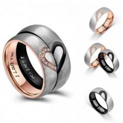 Új divat szív alakú varrás titán acél szerelem szív ígéret pár gyűrű ékszer ajándék