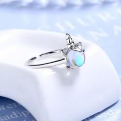 Új divatos káprázatos holdkő egyszarvú nyitó gyűrű női ékszer kiegészítők ajándékok