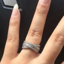 Új gyönyörű keresztezett cirkon eljegyzési esküvői hercegnő gyűrű női ékszer ajándék