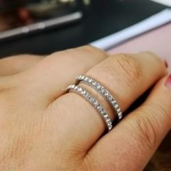 Sipmle divat kétszintes cirkon eljegyzési esküvői hercegnő gyűrű női ékszer ajándék