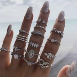 15db / készlet Divat bohém drágakő üreges geometriai gyűrűkkel női ékszer ajándék