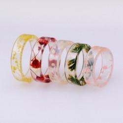 Gyanta gyűrű átlátszó epoxi divat kézzel készített szárított virágok növények belső romantikus ajándékok