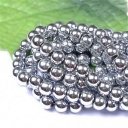 Metallic Silver - Természetes drágakő kerek kő laza gyöngyök tétel 4mm 6mm 8mm 10mm barkács ékszerek készítése