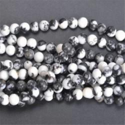 Black And White Zebra - Természetes drágakő kerek kő laza gyöngyök tétel 4mm 6mm 8mm 10mm barkács ékszerek készítése