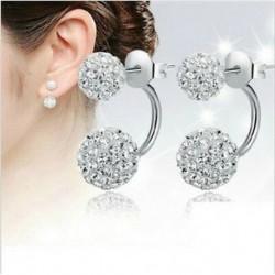No color - 1 pár női hölgy ékszerek ezüst dupla gyöngyös strasszos kristály fülbevalók