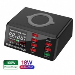 100 W 8 portos USB töltő QC3.0 gyors töltőállomás intelligens vezeték nélküli töltő PD gyors töltő iPhone Samsung