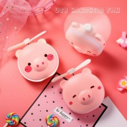 3 az 1ben hordozható kézi ventilátor rózsaszín disznó Led tükör zseb Ventilátor USB töltő Mini kézi ventilátor