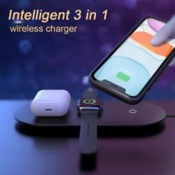 3 az 1ben vezeték nélküli töltő USB töltőpad iPhone 11 X XS Max XR Airpods Pro Apple Watch 5 4 töltő dokkolóhoz