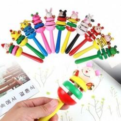 Baba csörgő gyűrű fából készült csengő babajáték hangszerek 03 éves színes zeneoktatásos fajáték