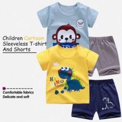 Gyermekek nyári rövid ujjú öltöny fiú lány pamut póló rajzfilm ruha